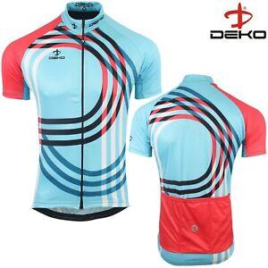 Cycling Jersey Mens Short Sleeve Summer Bicycle Full Zipper MTB Racing Top Blue