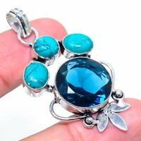 Turquoise, Iolite Gemstone Handmade 925 Sterling Silver Jewelry Pendant 2.13""