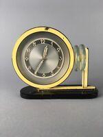 Rare 1930's Art Deco Machine Age Enamel Desk Clock Rhode Era As-Is