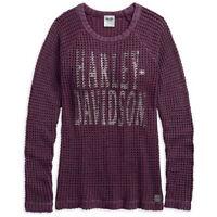 Harley-Davidson® Women's Loose Weave Acid-Washed Raglan Sweater 96071-18VW