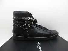 YSL Saint Laurent Womens Chain SL/32H Black High Top Sneakers Flats 39.5 9.5