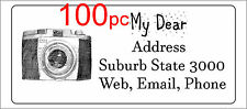 100 Personalised return address label camera photography mailing sticker 56x25mm