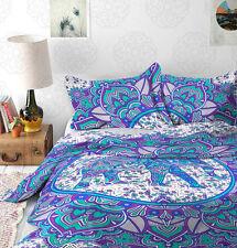 Indian Elephant Cotton Mandala Queen Size Duvet Cover Set Ethnic Comforter Cover