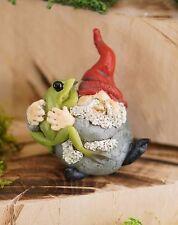 Miniature Garden Gnome Hugging Frog TO 4485 Dollhouse  Fairy Gnome Garden