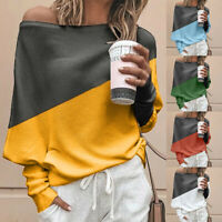 Women Off Shoulder Knitted Top Pullover Loose Batwing Long Sleeve Loose Sweater