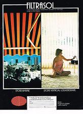 PUBLICITE ADVERTISING 094  1974   FILTRASOL  store-banne  vertical LOUVERDRAPE