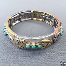 Multi Colored Metal Hammered Arrow Turquoise Bead Stretchable Statement Bracelet