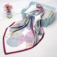 "Fashion Hijab Scarf Women Leaf Print Soft Satin Square Shawl Stole Wraps 35""*35"""