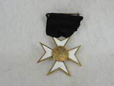 Knights of Templar Maltese Cross Pin Black Ribbon Broach PB HM George W Fletcher