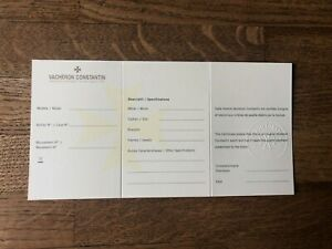 Open Vacheron Constantin Watch Warranty Certificate Blank Card
