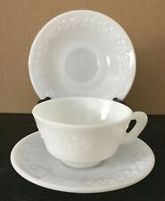 Vintage White Milk Glass Grape Pattern Tea Cup & 2 Saucers
