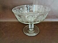 Clear Glass Compote/Centerpiece Bowl With Etched Grape Vines