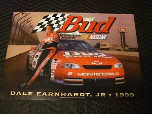 DALE EARNHARDT JR 1998 NASCAR Official Budweiser Poster New old Stock
