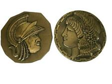 Vintage 1966 Mid Century Metal Greek Maiden Soldier Wall Plaques Decor Scovill