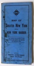 Orig 1916 Erie Railroad Large Folding Map Greater New York NYC Harbor & booklet
