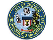4x4 inch Round CITY OF CHICAGO Seal Sticker - decal illinois logo insignia il