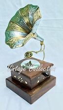 Vintage Antique Brass Gramophone Phonograph Collectible Room Office Decorative