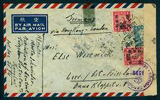CHINA 1947 Censored Airmail cvr from Shanghai to Germany ,via Hong-kong - London