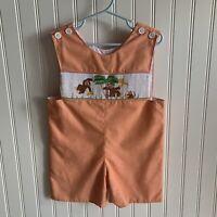 Mom & Me Smocked Embroidered Baby Boy Orange Shortall Romper Monkey Banana 24M*