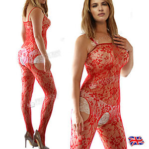 UK 6-12 Red Body Stocking Suit Nightie Fishnet Lingerie Underwear Tights Lace