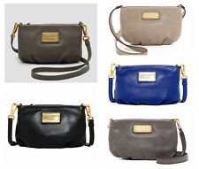 NWT Marc Jacobs Classic Q New Q Percy Leather Crossbody Black Cement Gray Beige