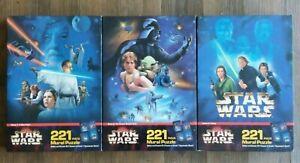 STAR WARS Trilogy Mural Puzzles Lot ANH ESB ROTJ 1 2 3 Milton Bradley 1997 NEW