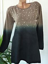 38 / 40  Strick long Pullover Kleid  mit  Perlen butterweich ombre farbverlauf