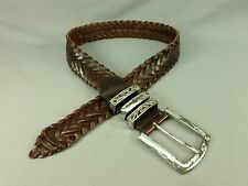 Woolrich Braided Leather Belt Wide Distressed Brown Medium 34 36