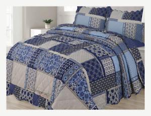 Zircon Patchwork Vintage Reversible Bedspread 3 Piece Quilt Bed Comfort set