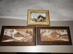 Tableau en bois chalet montagne sculpté en relief Vintage monté sur cadre bois
