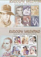 Rudolph Valentino Silent Screen Legend Souvenir Stamp Sheets Antigua E62-63
