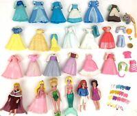 Disney Princess Polly Pocket 6 dolls 20+ dresses shoes big lot