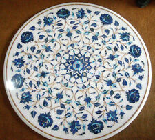 "24""x24"" Round White Marble Coffee Table Top Lapis Lazuli Home Decorative Gifts"