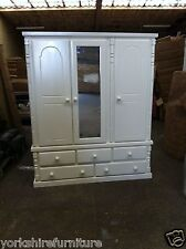 NEW HAND MADE SOLID WHITE SHABBY CHIC TRIPLE 5 DRAWER WARDROBE (NO FLAT PACKS)