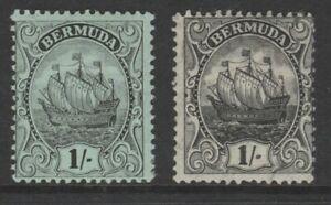 Bermuda MINT 1910-25 ship 1/- black on green jet black on olive sg51 & sg51a