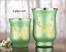 Metallic Green Hurricane Candle Holders - Set of 2