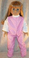"""Doll Clothes Made 2 Fit American Girl 18"""" inch Pajamas Stars Pink White"""