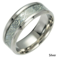 Hot Men Women Jewelry Glow In The Dark 8mm Titanium Steel Luminous Band Rings