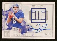 Daniel Jones 2019 Panini Impeccable RC Rookie Patch Auto RPA # /75 NY Giants