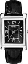 Timex T2P517, Men's, Black Leather Watch, Black Dial, Rectangle, Date T2P5179J