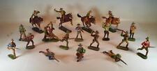 Elastolin / Lineol Masse Figuren Wildwest Cowboy Konvolut mit 4 Reitern #090