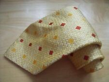 TKR758 Roy Robson Krawatte 100% Seide Creme Gold Terracotta Orange Karo 152cm