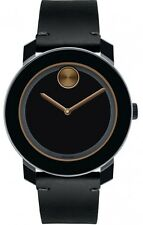 MOVADO BOLD 3600297 Large Black TR90 Stainless Steel Black Leather Men's Watch