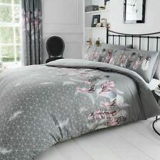 17 Stories Feathers 144 TC Grey Duvet Pillowcase Cover Set King Size 230x220cm