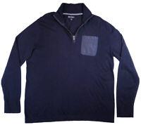 BANANA REPUBLIC Mens 1/2 Zip Sweater Size XL Navy Blue Long Sleeve Cotton EUC