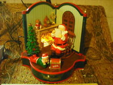 Maisto Santa's Livingroom By The Fire Multi-Action/Light Music Box MIB