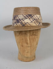 Vintage Brooks Brothers Straw Coconut Fedora Hat Mens Size 6 7/8