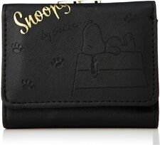Peanuts Snoopy Long Wallet Purse 3D Print Black Fake Leather Japan Limited
