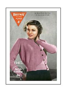 1940's Classic Twin Set Vintage Knitting Pattern Bust 36-40