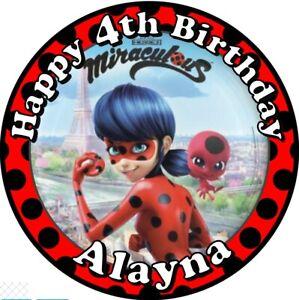 "Miraculous Ladybug, 7.5"" , 2"" , 1.5"" ROUND EDIBLE ICING PRINTED CAKE TOPPER"